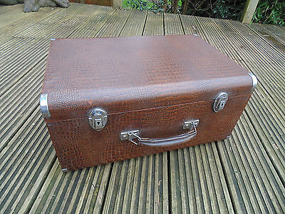 Vintage Carry Case Box For Singer Sewing Machine 201K Faux Crocodile Leather