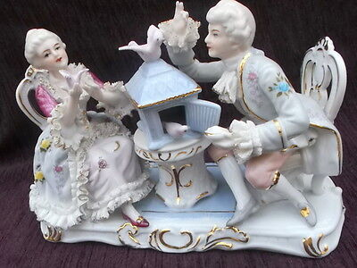 Dresden Style Romantic large Figurine - Lady & Man with dove's - VGC