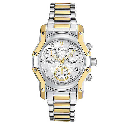Bulova Women's 98P120 Wintermoor Quartz Two Tone Chronograph Bracelet 32mm Watch