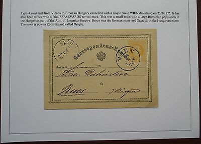 Austria. Fine first issue postal stationery card sent from Vienna to Broos.