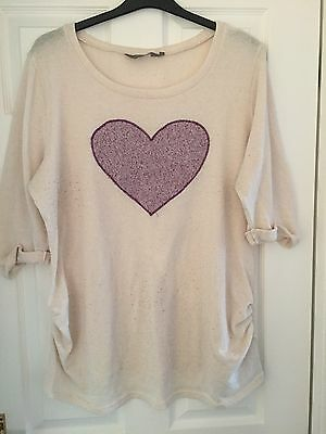 New Look Maternity Jumper Size 18 Cream With Purple Heart