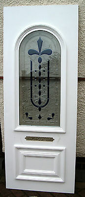 WHITE 28mm  UPVC DOOR INSERT WITH FEATURED GLASS