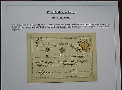 Austria. Fine first issue postal stationery card sent from Vienna to Brunn. 1871