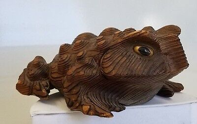 "Vintage Hand Carved Cryptomeria Wood Frog / Toad - Japan - 5"" By 4"" By 2 1/4"""