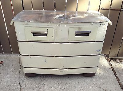 Awesome Vtg Steampunk Industrial Cabinet Island W/drawers Wheels Metal Top Rare!