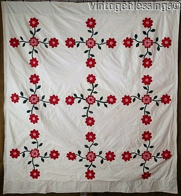Early! ANTIQUE Appliqued Floral QUILT TOP or DUVET Turkey Red Double Pink Green