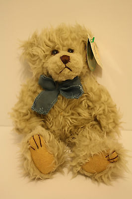 """Scraggles First and Main Plush Bear Stuffed Animal Blue Bow New 8"""""""