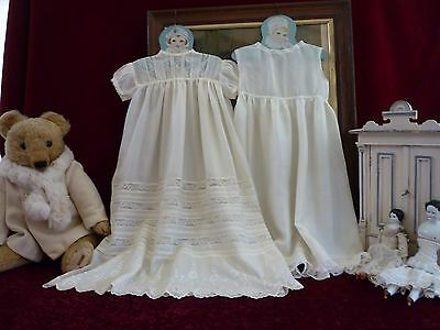 Lovely Antique Ivory Silk Babygown & Petti Lace Panels.