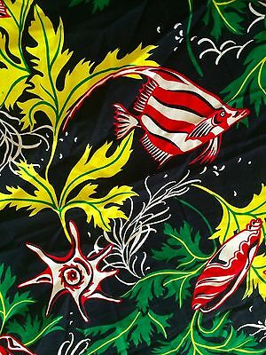 Vintage Hawaiiana Hawaii Tropical Fish Rayon Fabric yard + Sewing Projects