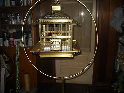 vintage antique hendryx brass bird cage and stand
