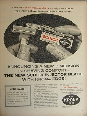 Vintage Original 1961 Schick Razor with Krona Edge Print Art Ad