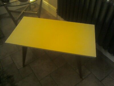 Retro Vintage Coffee Table Yellow Formica Very Chic 1950S/60S Teak Legs
