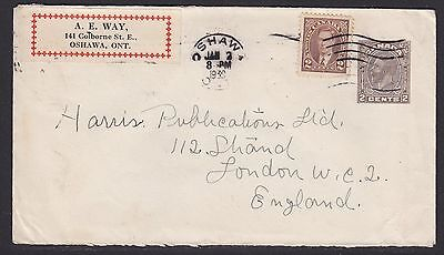 CANADA 1939 COVER TO ENGLAND - UPRATED 2c KG5 PS ENVELOPE