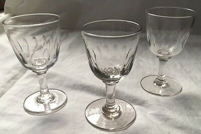 3 Antique/Victorian/Georgian Sherry/Port Glasses - Hand Blown with Pontil Marks
