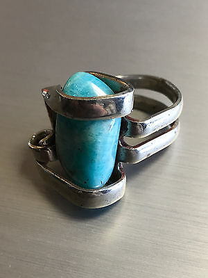 Unique Fork Design Silver Tone American Turquoise Ring Size 6 1/4 Jewelry