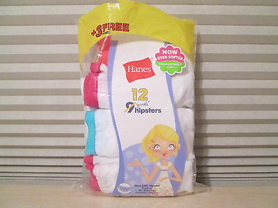 NEW 9 Pairs Pack HANES Girls Hipsters Panties Underwear Size 16 White Tagless
