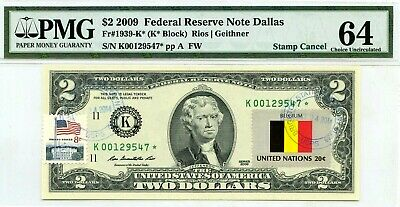 Money Us $2 Dollars Federal Reserve Star Note 2009 Pmg  Flag Of Belgium Ch Unc