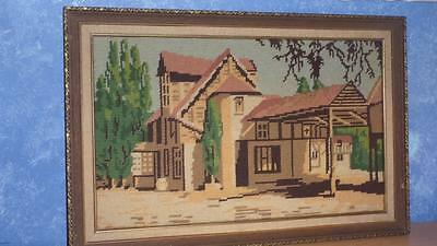 Vintage Wool Needlepoint English Manor House TAPESTRY Completed & Framed VGC