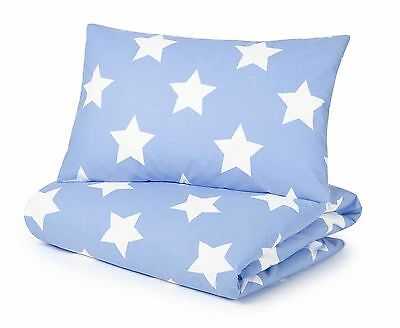 Duvet Cover and Pillowcase Set Blue with White Stars by Pixie & Jack