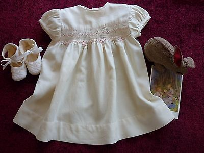 Pretty Vintage Baby Dress,Smocking & Baby Shoes GC.
