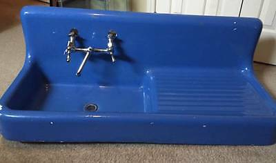 Antique BLUE Farmhouse Cast iron porcelain Drainboard Sink