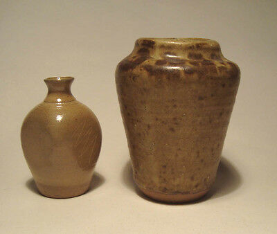 Studio Pottery Miniature Stoneware Vase & One Other Marked CP