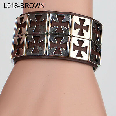 2017 Metal Cross Studded Surfer Leather Bracelet Wristband Cuff Men's BROWN