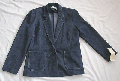Vintage Leisure Suit Jacket Denim in Action 1970's Polyester USA Size 10 NOS