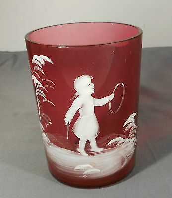 Antique Mary Gregory Cranberry Glass Tumbler White Enameled Scene Girl w/Hoop