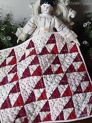 Antique 1880s Turkey Red And Canberry Doll Quilt TINY PIECES 8x8