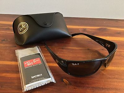 New Ray-Ban RB4057 Polarized Sunglasses 601/58 3P Black Natural Green Lens