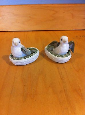 Two Vintage Ceramic Doves In A Nest From Frankenmouth Gallery *