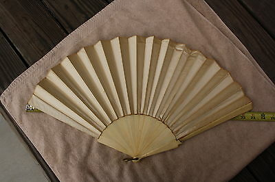 Vintage Ladies Hand Fan Off White Satin Cloth