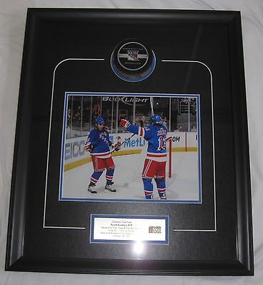 Scott Gomez 08-09 FRAMED Game-Used 145th Career Goal Scored Puck MSG Collectible