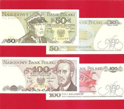 POLAND p142c 143e - 50_100 zloty 1988 Set of 2 Uncirculated