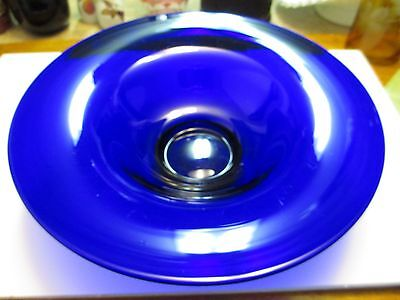 "Vintage Antique Cobalt Blue 13"" Diameter Blown Glass Bowl Polished Pontil Euc"