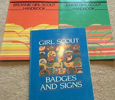 Girl Scout Vintage Lot Handbook Brownie Junior Badges Signs Collectible