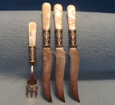 Set 3 Victorian Mother Of Pearl,sterling Silver Handle Table Knives + 1 S.p.fork