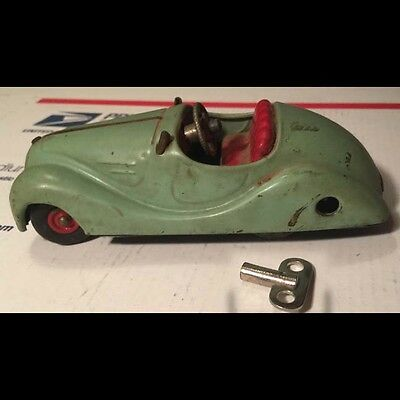 Original US Zone Germany Schuco Akustico 2002 toy wind-up tin car LIGHT GREEN