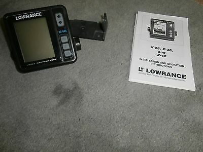 Lowrance X-48 Fish Finder Head Unit (ONLY) With Bracket - Great Working Order