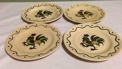 Vintage Metlox Poppytrail Provincial Rooster Bread & Butter Plate lot Set of 4