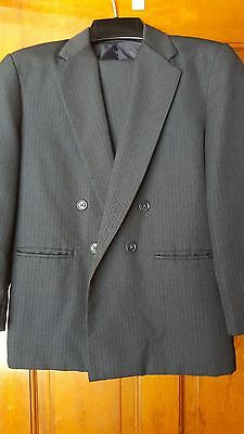Boys Navy Striped Van Heusen Double Breasted Suit - Size 12