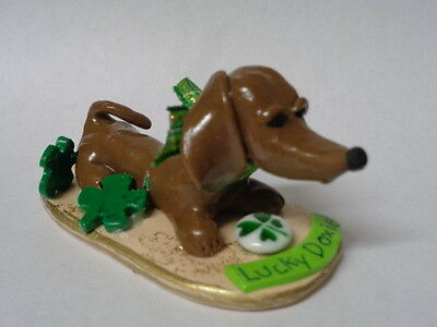 "Hand Sculpted~Brown Doxie Dachshund ""lucky Dog"" Lucky Charms Art Figurine~"