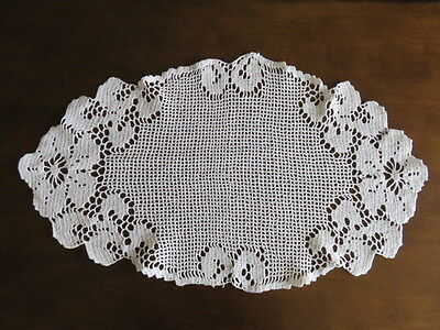 """Vintage Filet Lace Doily/runner - White -  Flowers - 29"""" By 17"""""""