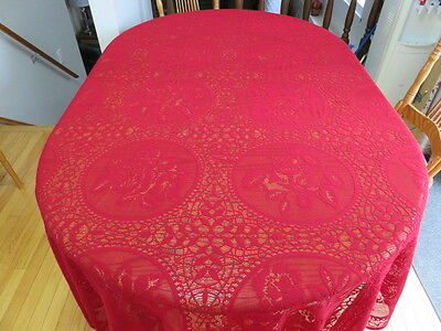 "Vintage Lace Tablecloth - Flowers - Burgundy  - 89"" By 60"""