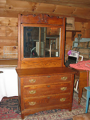 Lovely Antique Solid Oak Mirrored Bureau./Chest of Drawers