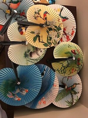 Lot Of 8 Old ROUND CHINESE HAND FANS , ORIENTAL FANS