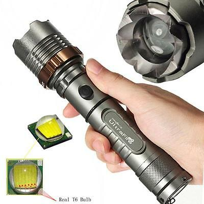 Tactical 3000LM Zoomable CREE XML T6 LED 18650 Flashlight Focus Torch NICE Lamp
