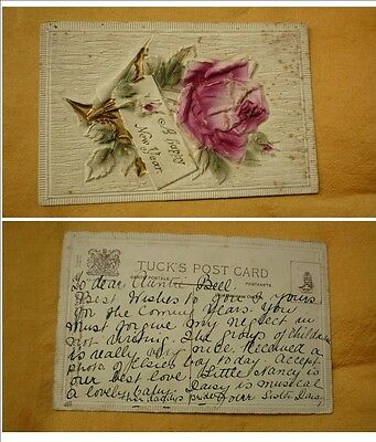 OLD 1900 - 1910 era VINTAGE CHRISTMAS POSTCARD, A HAPPY NEW YEAR, RED ROSE