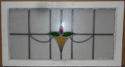 "OLD ENGLISH LEADED STAINED GLASS WINDOW TRANSOM Pretty Floral 34.5"" x 19"""
